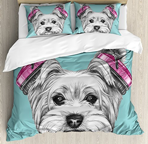 Ambesonne Yorkie Duvet Cover Set, Dog with Headphones Music Listening Yorkshire Terrier Hand Drawn Caricature, Decorative 3 Piece Bedding Set with 2 Pillow Shams, King Size, Blue White