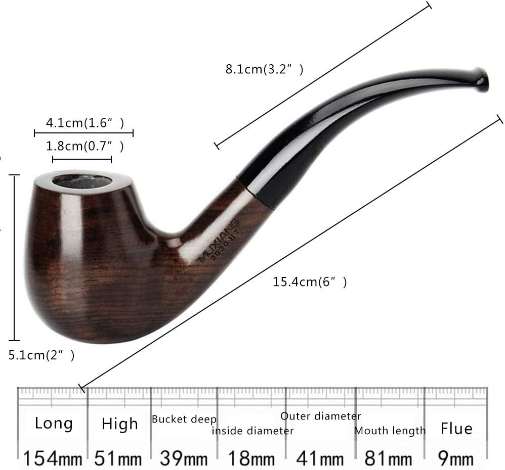 1 Pieces Smoking Accessories Tobacco Pipes Ebony Wood Pipe Filter Tobacco Pipe
