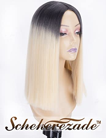 Amazon Com Blonde Ombre Short Bob Wig For Women 2 Tone Dark Roots