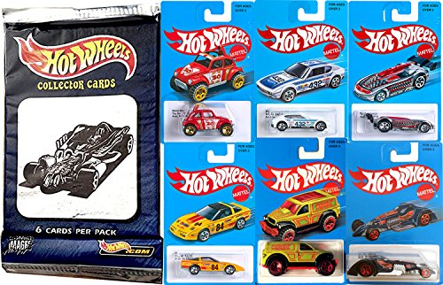 Beetle Spec (Hot Wheels Retro Blue Card Series Exclusive Car Set 2016 - Heritage Style + Pack of Hobby Trading Cards Volkswagen / VW Baja Beetle / Power Panel / Corvette / Hammered Coupe / Battle Spec)