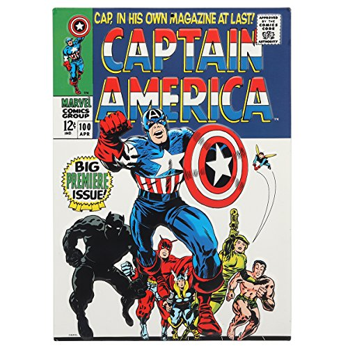 Open Road Brands Vintage Retro Metal Tin Signs - Captain America #100 Comic Sign - Great for Man Caves, Garage Art, and Home Decor