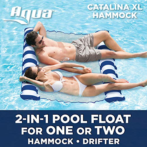 Aqua Catalina XL Hammock, 4-in-1 Multi-Purpose Inflatable 1-2 Person Pool Float, Water Lounge, Navy/White Stripe (Double Pool Lounger)
