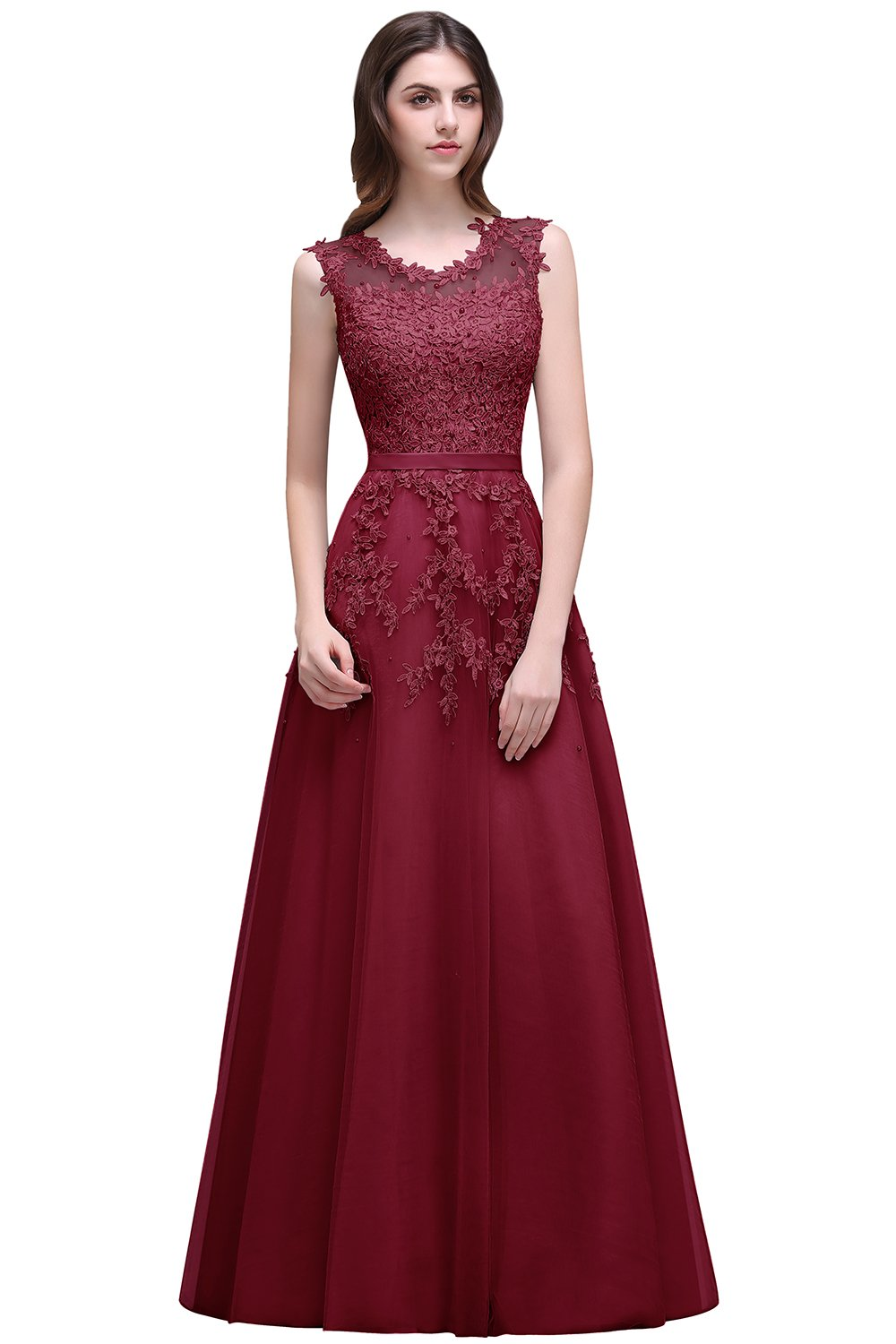 Burgundy Prom Dress 2016 Lace Appliques Long Evening Dresses for Weddings