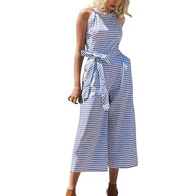 5904e454fe73 HARRYSTORE Women Linen Jumpsuit Sleeveless Striped Waist Belted Wide Leg  Capri Pants Jumpsuit: Amazon.co.uk: Clothing
