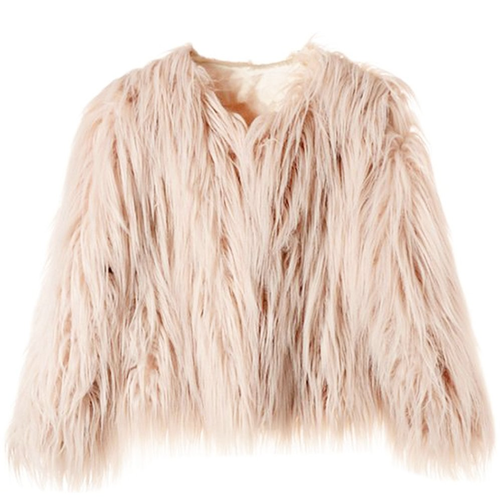 Erencook Women's Shaggy Faux Fur Coat Jacket (2XL=US 10, Pink)