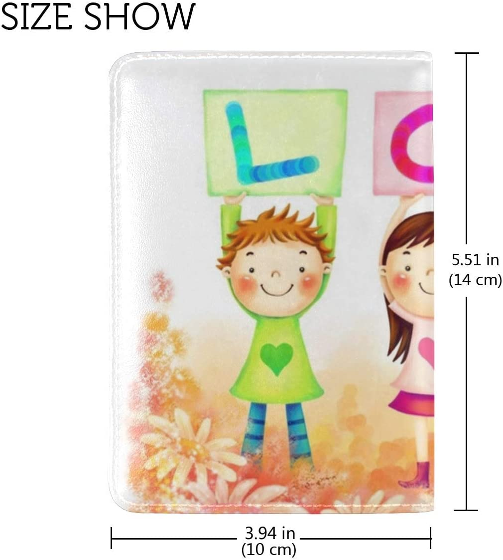 JiaoL Signs Letters Love Drawing Leather Passport Holder Cover Case Travel One Pocket