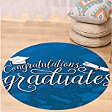 Kisscase Custom carpetGraduation Decor College Celebration Ceremony Certificate Diploma Square Academic Cap for Bedroom Living Room Dorm Blue and White