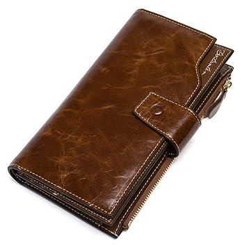 904dd0d5ea220 BOSTANTEN Leder Damen Portmonee Portemonnaie Geldbörse Handtasche Wallet  Geldbeutel Clutch Groß Braun