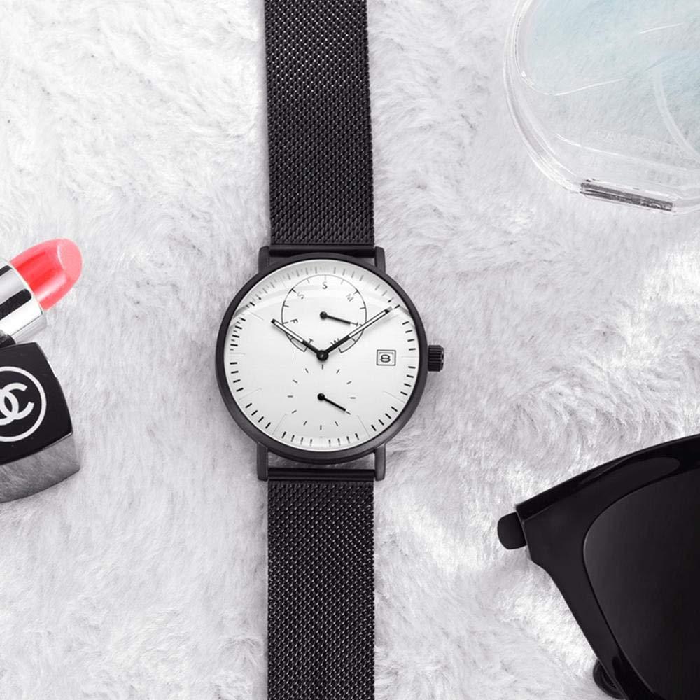 N·XHXL Män Affärsklänning Klockor Multifunktion Vattentät Sport Vardaglig Klocka Män Casual Quartz Slim Mesh Armbandsur Vitt