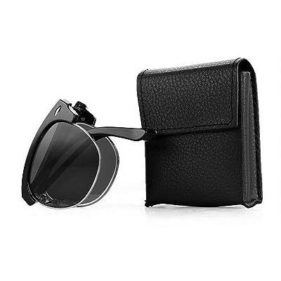 Deylaying Moda Doblez Metal Marco Gafas de sol Gafas de lectura Anti-radiación Lente Con Gafas Caso +1.0~+4.0: Ropa y accesorios