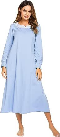 Ekouaer Womens Casual Loungewear V-Neck Lace Sleepwear Full Length Nightgown S-XXL