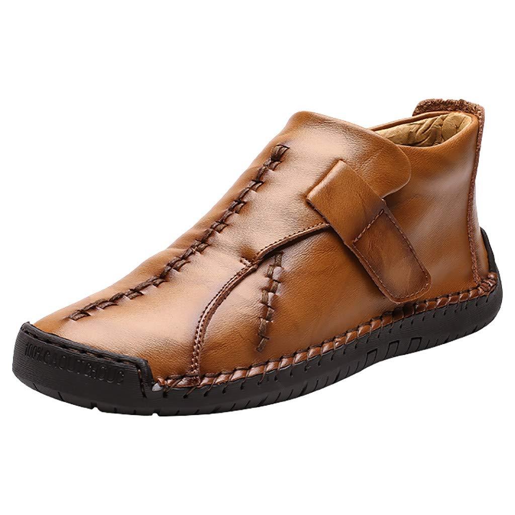 SSUPLYMY Leather Stiefel Herren Vintage Hohe Hilfe Freizeitstiefel Flach rutschfest Kurzschaft Stiefel Bequem Atmungsaktiv Stiefel Leichtgewicht Weicher Boden Wanderschuhe