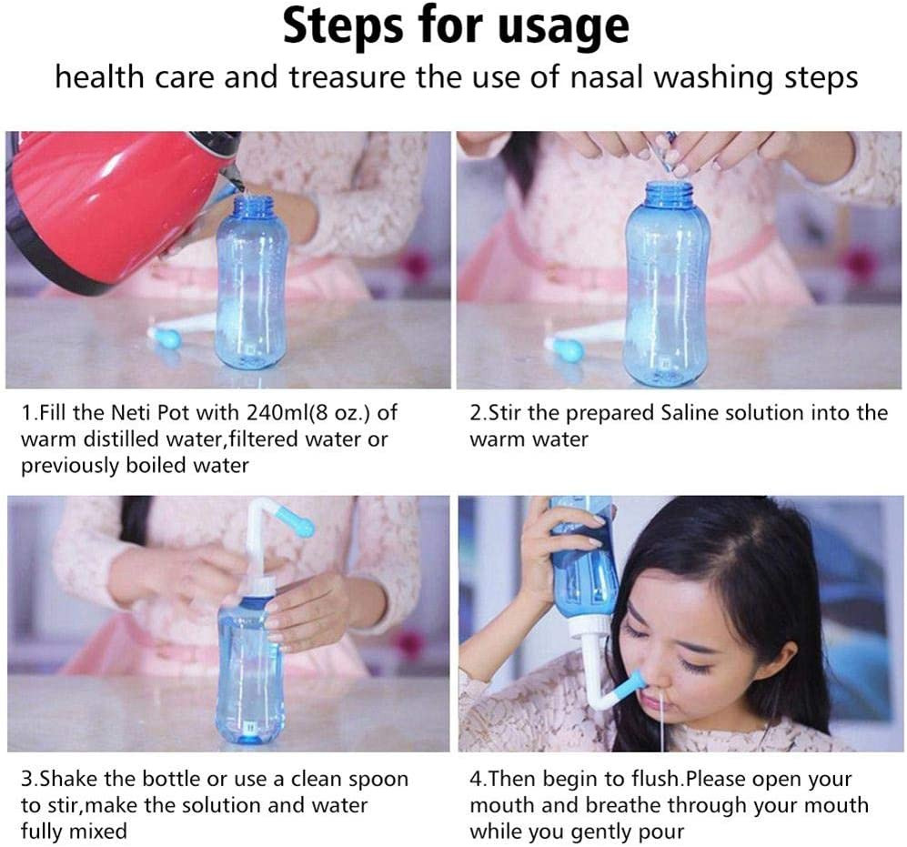 Findema Neti-pot Sinus Rinse Kit Nasal Wash Salt And Thermometer Sticker Neti Pot Nose Irrigation Cleaner Flush Syringe