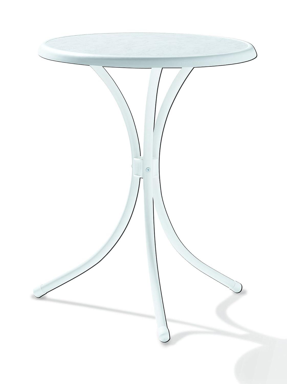Winner 100 / W tavolo da bistrò con Ø Mecalit-per-piatto 60 cm, tubo di acciaio bianco, il marmo tavolo arredamento bianco SIEGER 100/W