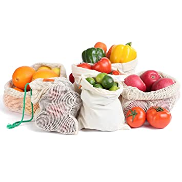 Ga HOMEFAVOR Bolsas de Vegetales y Fruta, Bolsas Reutilizables para Productos Frescos, Bolsas Ecológicas de Algodón con Cordón para Guardar la Compra, ...