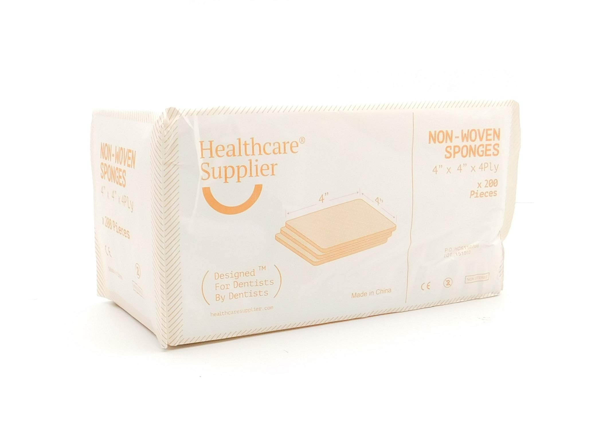 HEALTHCARE SUPPLIER Non Woven 4'' x 4'' Dental Sponges (Full Case of 2000) Professional Dentist Office Supplies