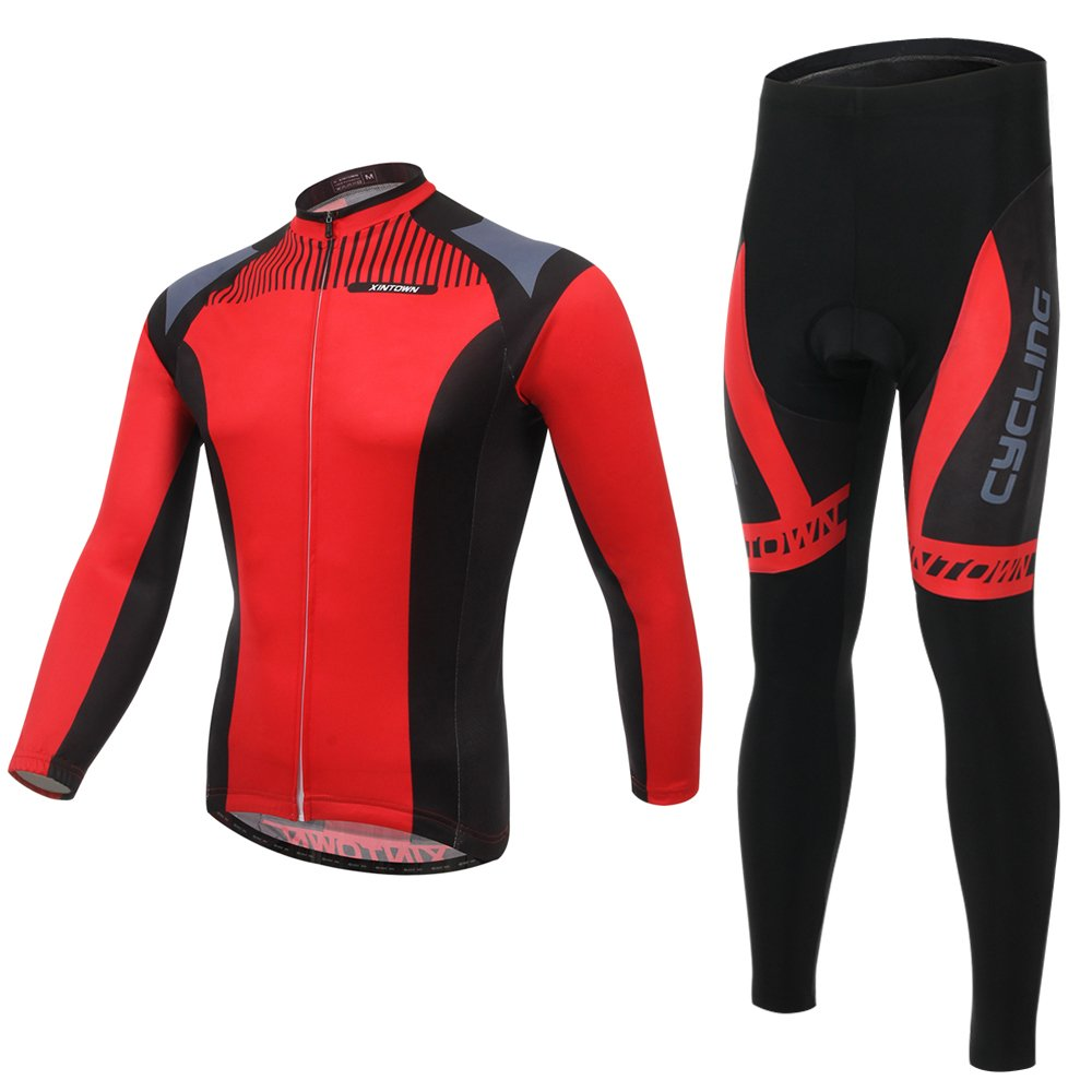 DuShow Red Men Long Sleeve Fleeced/Fleece Winter Cycling Bike Bicycle Jersey + Pants or Bib Set