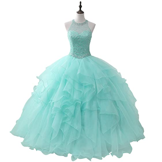 Amazon.com: Women\'s Halter Aqua Corset Ball Gown Sweet 16 Long Prom ...