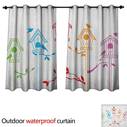 Amazon Com Birds Outdoor Ultraviolet Protective Curtains Sweet Rh Shower With Bird Houses