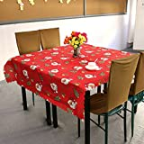 Dream's Story Santa Claus Pattern Polyester Fiber Christmas Tablecloth for Christmas Decorations ,180*150cm(71'' * 60'') (RED)