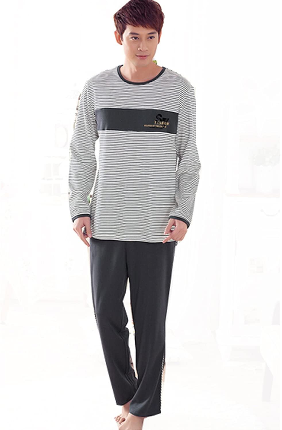 Km Mens Long Sleeve Cotton Homewear Pullover Pajamas Set#85062
