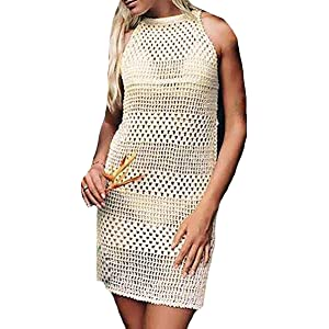 3f924635a9e Bestyou Women's Crochet Lace Tops Halter Knit Mini Dress Sexy Bikini  Swimsuit Bathing Suit Cover up