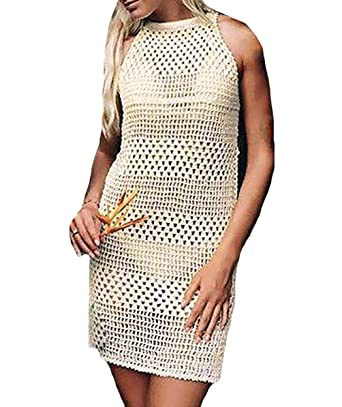 Bestyou Womens Crochet Knit Top Shirt Swimsuit Cover Up White One