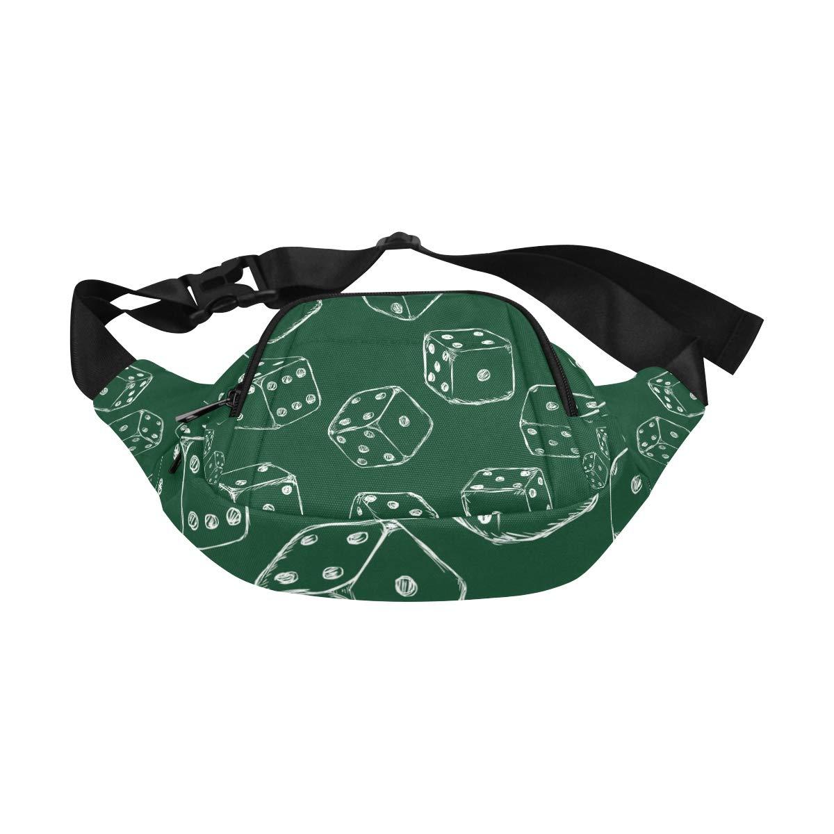 Top View Of White Dice Fenny Packs Waist Bags Adjustable Belt Waterproof Nylon Travel Running Sport Vacation Party For Men Women Boys Girls Kids