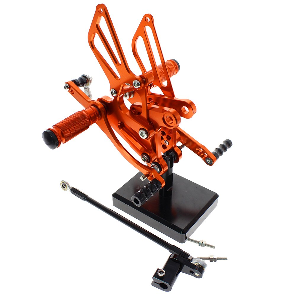 color tree Motorcycle Rearsets Rear Foot Pegs CNC Rear set Footrests Fully Adjustable Rear Foot Boards Fit for Honda CBR300RR/CBR250R 2010 2011 2012 2013 2014 Orange