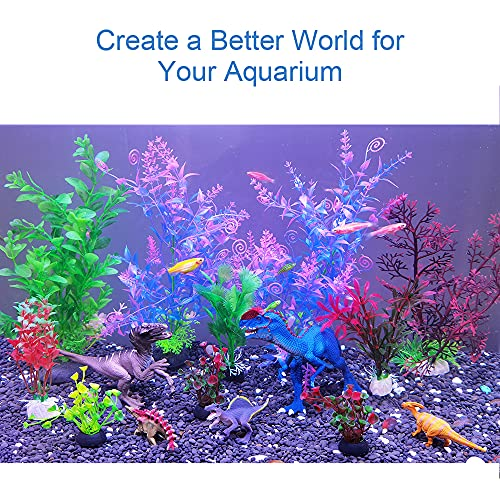 GreenJoy Aquarium Fish Tank Thematic Decorations Accessories Kit Dinosaur Theme Decor Plastic Plants Dinosaur World Thematic Aquaric Decor Small (12-20 gallons)