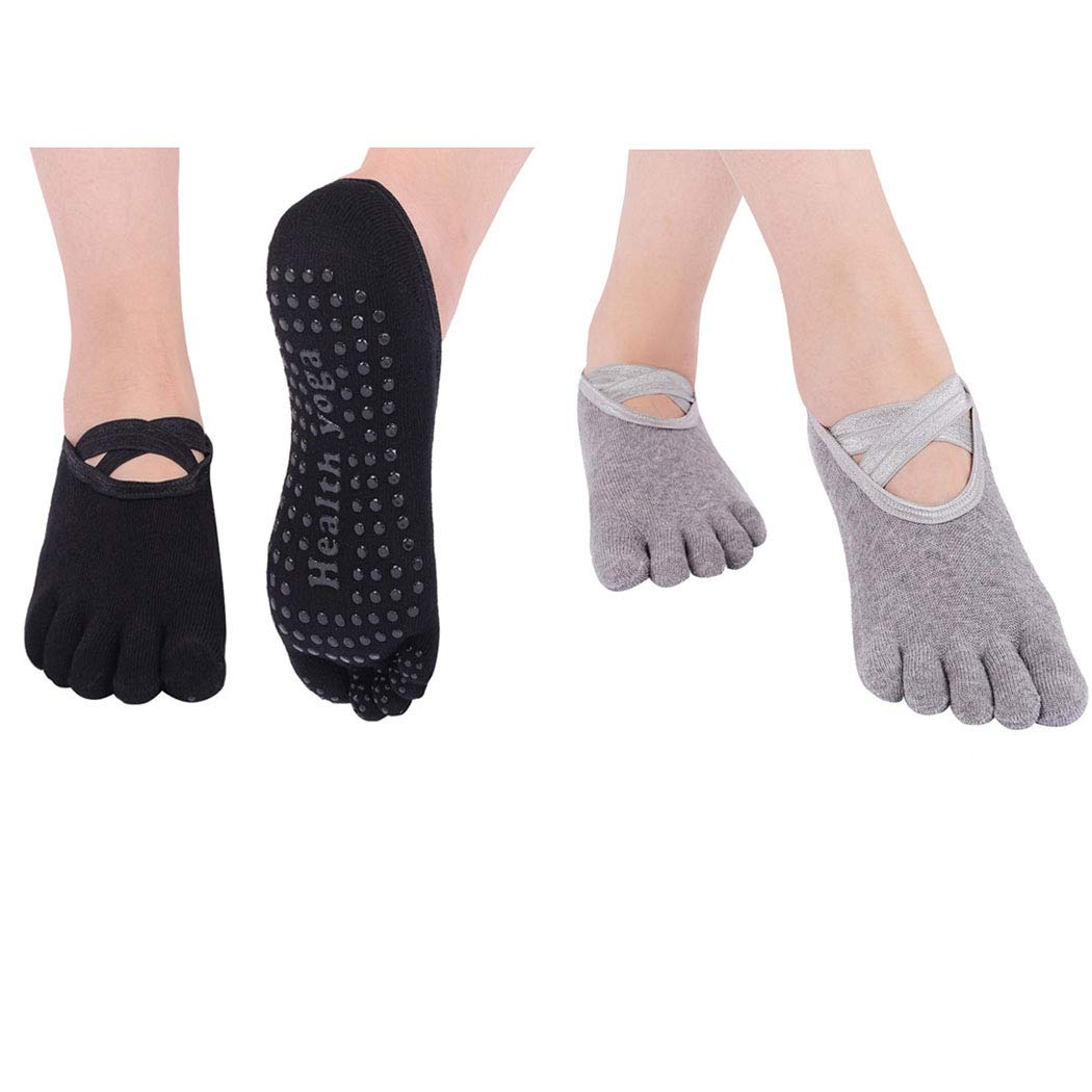 Neoyowo Women's Non-Slip Yoga Socks with Full Toe for Pilates Barre Bikram Ballet Studio Hospital Anti-Skid Sox (Black+Grey)