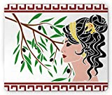 profiles and family l - Toga Party Mouse Pad by Ambesonne, Mythological Aphrodite Profile and Olive Branch Greek Borders Framework Print, Standard Size Rectangle Non-Slip Rubber Mousepad, Multicolor