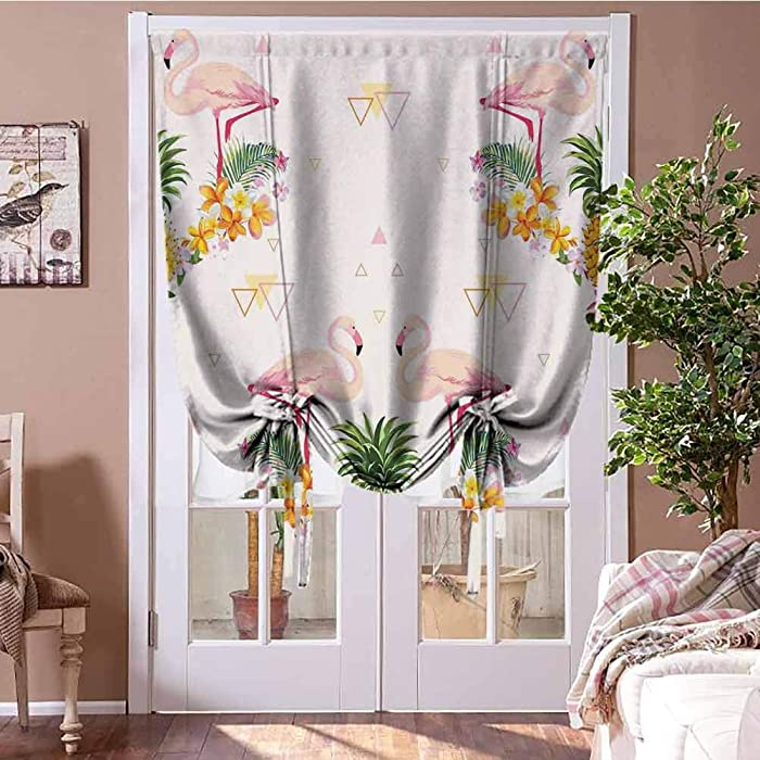 Blackout Curtain Flamingo Tie Up Window Shade for Home Geometrical Pines and Flamingos Tropical Summer Fruit Pool Party 27