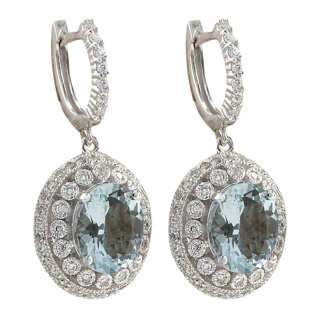 XBKPLO Earrings for Women's Fashion Dangling Temperament Elegant Aquamarine Gemstone Opal Round Silver Earrings Alloy Lady Jewelry Gifts