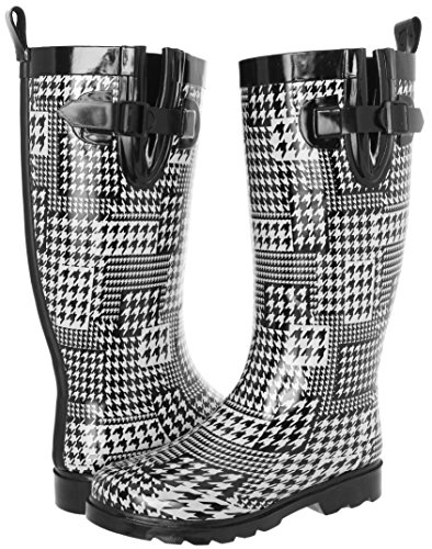 Capelli New York Ladies Shiny Houndstooth Collage Printed Rain Boot White Combo 9