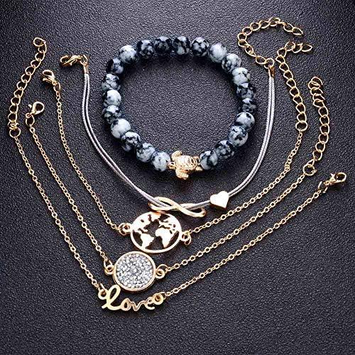 Jovono 8 Lettres Amour Carte Du Monde Tortues Perles Strass Bracelet Termin/é Large Manchette Pour Femmes Et Filles 5 Pi/èces