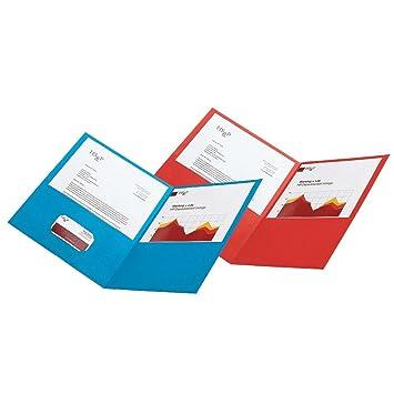 Office Depot (R) marca Twin-Pocket carteras de cuero sintético, color rojo, 10 unidades: Amazon.es: Oficina y papelería