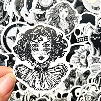 50Pcs/Pack Black White Gothic Style Horror Thriller Stickers Cool Pegatina for DIY Laptop Skateboard Guitar Car Decals Sticker: Arts, Crafts & Sewing