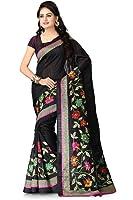 Vaamsi Women's Tassar Silk Saree With Blouse Piece(Tussarsilk1015_Black_Free Size)