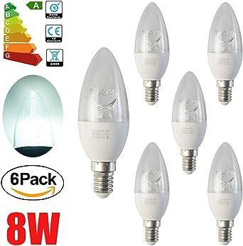 ALBRIGHT (6 Pack) E14 Bombillas LED Vela 8W, LED luz de vela Lámpara, Bombillas de candelabro LED, (8W equivalente a 65W) 520 lúmene, blanco natural 6500K, No regulable: Amazon.es: Iluminación