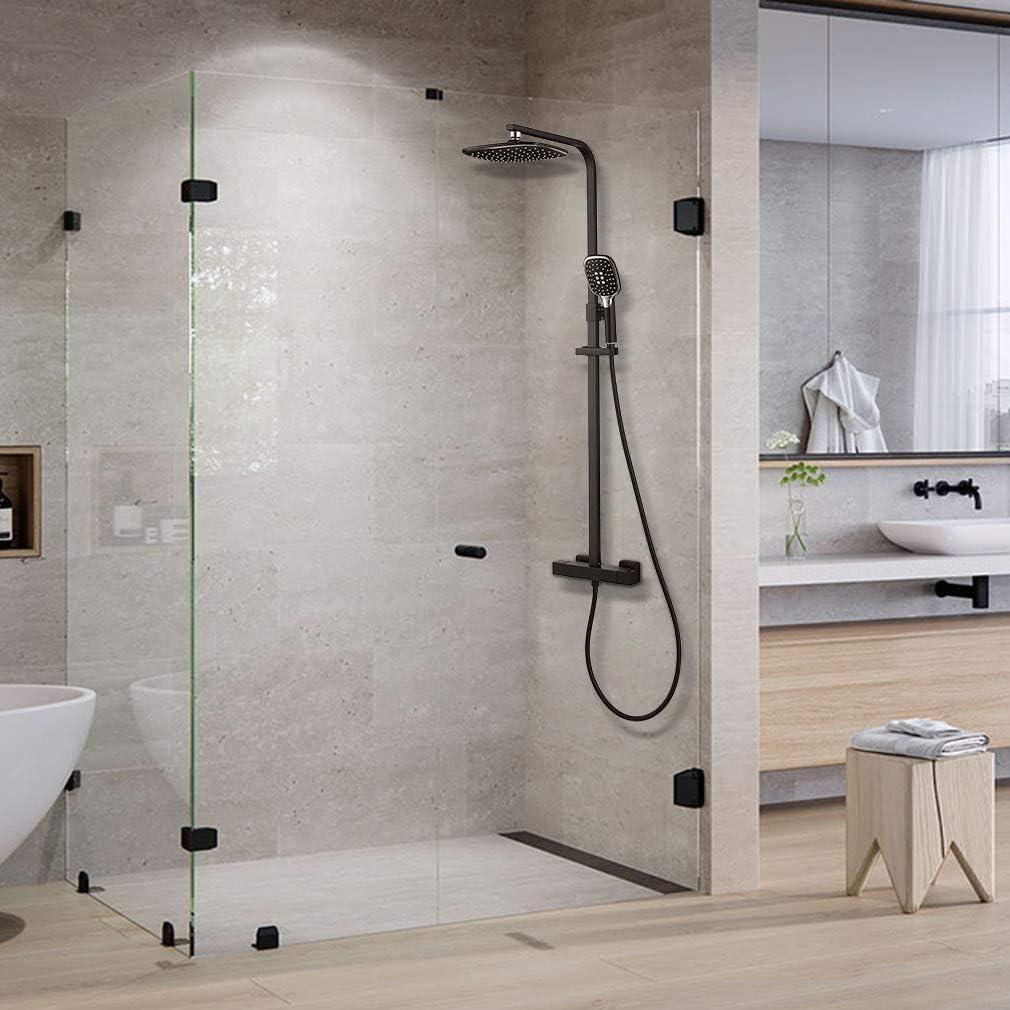 panel de ducha Juego de ducha Sistema de ducha Auralum de 2 funciones con termostato juego de ducha negro incl barra de ducha ajustable ducha de mano ducha de cabeza
