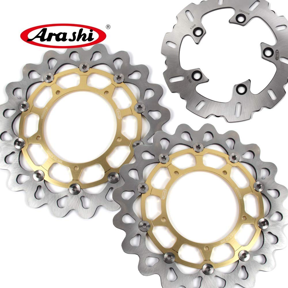Arashi Front Rear Brake Disc Rotors for YAMAHA YZF R1 2004 2005 2006 Motorcycle Replacement Accessories YZF-R1 04 05 06 Gold