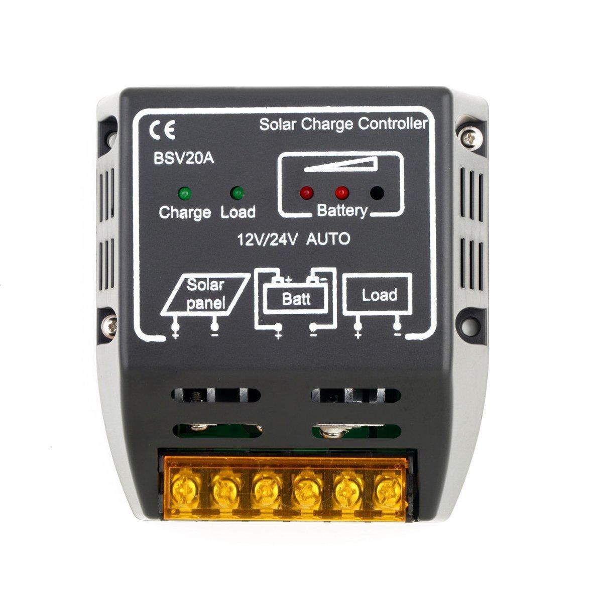 24 V Solarpanel-Laderegler Batterieregler Sicherer Schutz des Solarreglers F/ür den Einsatz in Solarpanelsystemen Noradtjcca 20A 12 V