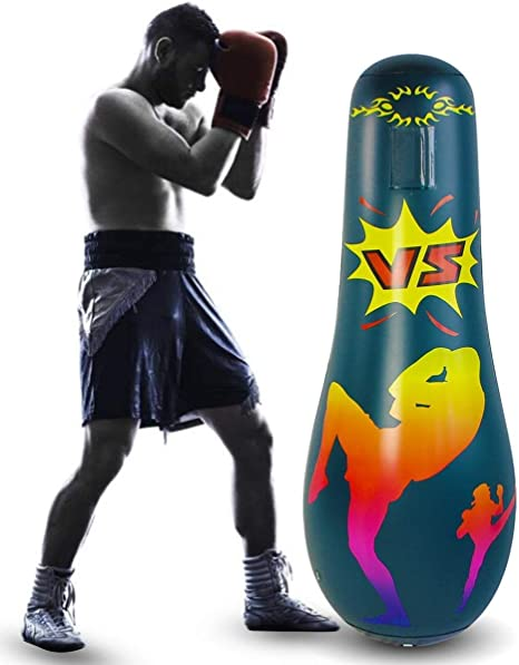 Hit /& Bounce Back Air Bop Toy Fun 47Inch Free Standing Boxing Punching Bag Eurobuy Inflatable Kids Punching Bag Taekwondo Inflatable Punching Bag for Practicing Karate Exercise Stress Relief
