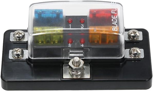 fuse box in boat amazon com walmeck 4 way blade fuse box with led indicator fuse  walmeck 4 way blade fuse box with led