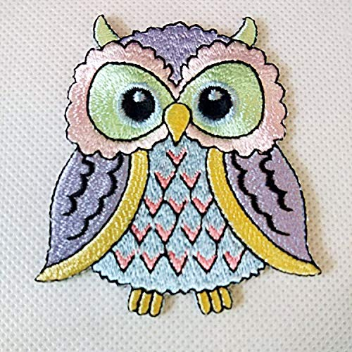 Zazza95 New Sweet Cute Colorful Blue Purple Green Owl Retro Sign Embroidered Sew Iron On Patch Badge Fabric Applique Handmade Art Craft Transfer Sequin DIY Clothes Clothing Shirts,Jeans,Jacket,Bag,Cap