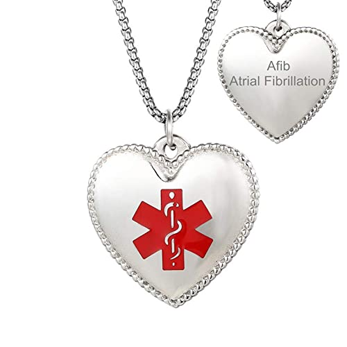 bbb031d6d08 CF Customizable Personalized Stainless Steel Medical Alert Heart Necklace  Disease Awareness Identification ID Pendant,Emergency