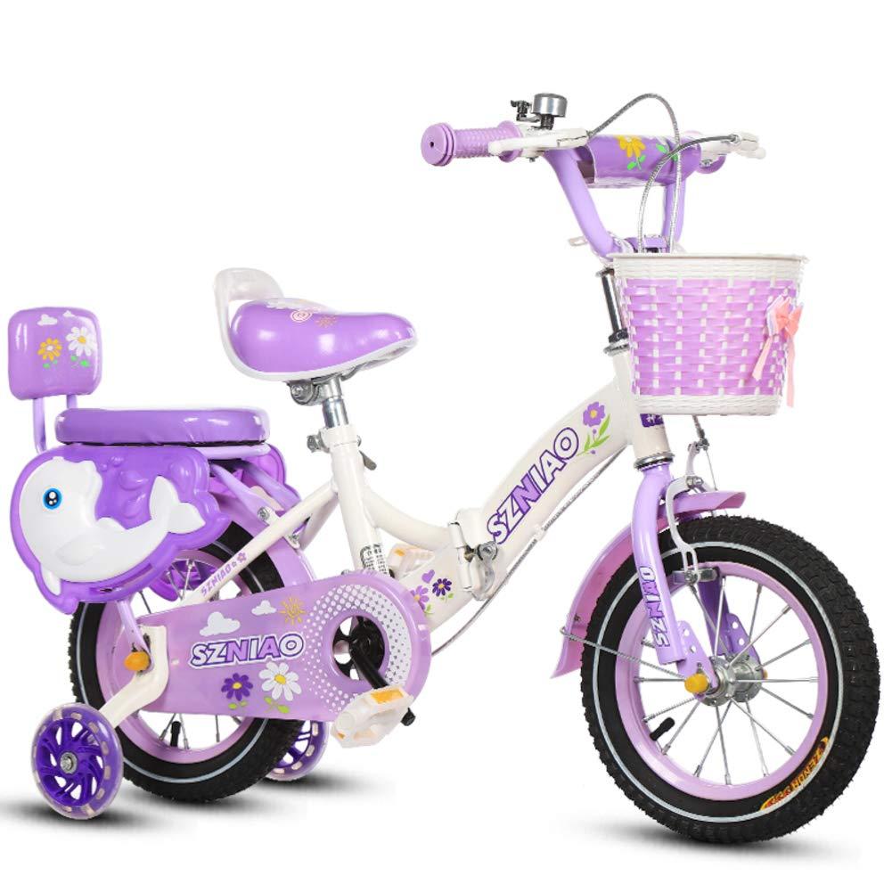 Faltende Kinder Bike 2-8 Jahre Alten Baby Kinderwagen Kinder Auto-Lila 14inch
