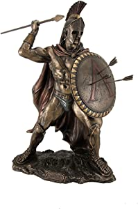 Veronese Design King Leonidas Greek Warrior of Sparta Bronze Finish Statue