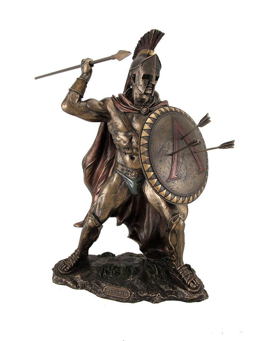 Resin Statues King Leonidas Greek Warrior of Sparta Bronze Finish Statue 13 X 12.5 X 5.5 Inches Bronze